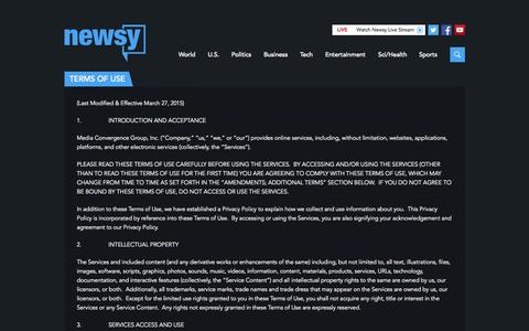 Screenshot of Terms Page newsy.com - Terms Of Service | Multisource Video News Analysis | Newsy - captured Nov. 10, 2015