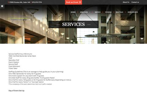Screenshot of Services Page ayscatering.com - Services - At Your Service Catering - At Your Service Catering - captured Feb. 6, 2016
