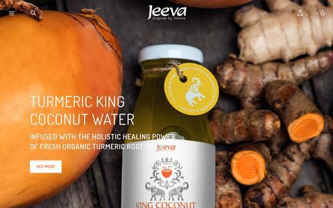 Screenshot of Home Page jeevauk.com - Jeeva - Coconut Water   Extra Virgin Raw Coconut Oil - captured Sept. 20, 2018