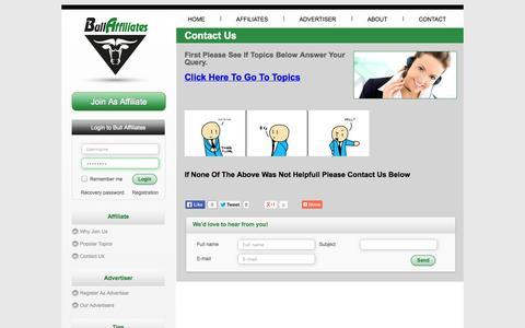 Screenshot of Support Page bullaffiliates.com - Contact Us - captured Oct. 30, 2014