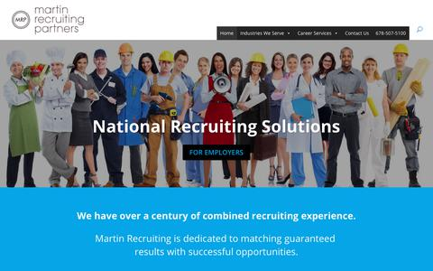 Screenshot of Home Page mrpnow.com - National Recruiting | Hotel & Restaurant Management Recruiters | MRP - captured Dec. 20, 2018