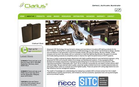 Screenshot of About Page advanced-led-technology.com - About | Clarius Infrared & White Light Illuminators | CCTV Lighting | Night Vision | CCTV Security & Surveillance Systems | LED Light | White Flood Light - captured Oct. 4, 2014