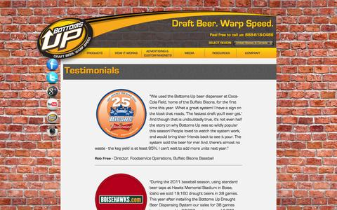 Screenshot of Testimonials Page bottomsupbeer.com - Bottoms Up Beer -Testimonials - captured Sept. 19, 2014