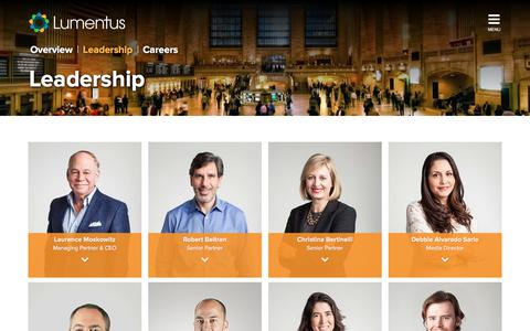 Screenshot of Team Page lumentus.com - Company Leadership - Lumentus - captured July 24, 2018