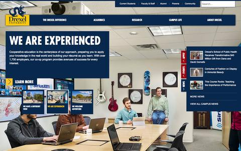 Screenshot of Home Page drexel.edu - A comprehensive research university and experiential learning leader in Philadelphia, PA | Drexel University - captured Oct. 26, 2015