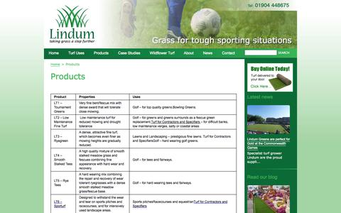 Screenshot of Products Page turf.co.uk - Turf | Turf Supplier | Products | Lindum Turf - captured Oct. 2, 2014