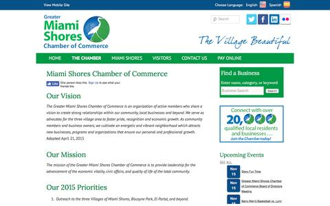 Screenshot of About Page miamishores.com - Miami Shores Chamber of Commerce | Greater Miami Shores Chamber of Commerce - captured Nov. 15, 2016