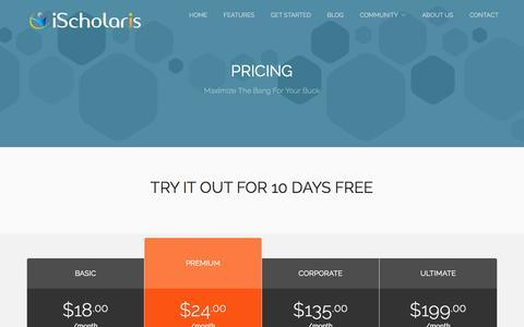 Screenshot of Pricing Page ischolaris.com - Pricing - captured Oct. 6, 2014
