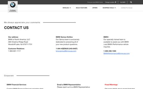 Screenshot of Contact Page bmwusa.com - Contact Us - BMW North America - captured Nov. 5, 2017