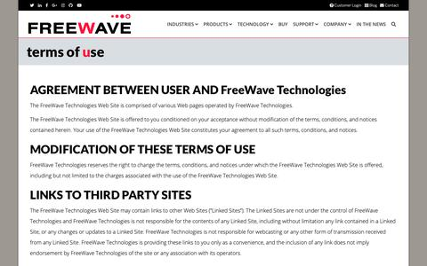 Screenshot of Terms Page freewave.com - Freewave Terms of Use - captured Nov. 8, 2018