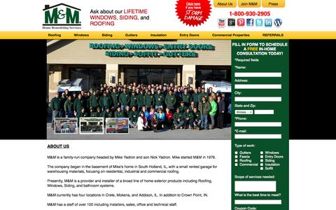 Screenshot of About Page m-mcorp.com - M&M Home Remodeling Services -How It All Started - Our Story - captured Oct. 3, 2014