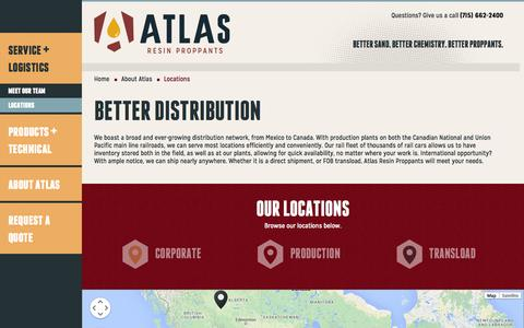 Screenshot of Locations Page atlasresinproppants.com - Proppants Locations, Transload Facilities | Atlas Resin Proppants - captured Nov. 2, 2014