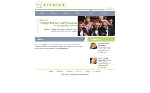 Screenshot of Jobs Page reckone.com - Reckone | CAREERS - captured Feb. 23, 2016