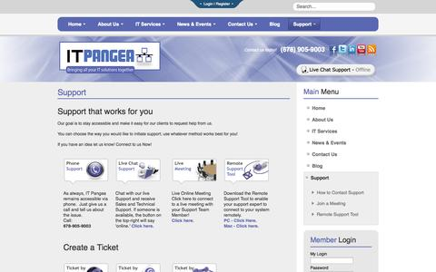 Screenshot of Support Page itpangea.com - Support - captured Sept. 30, 2014