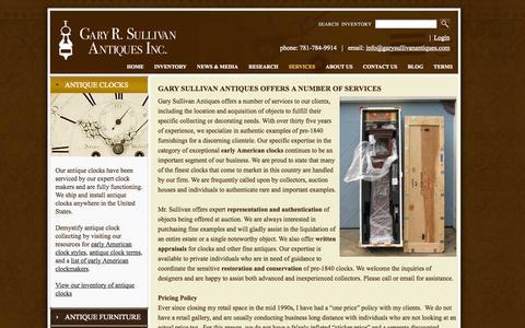 Screenshot of Services Page garysullivanantiques.com - Antique Clock and Furniture Services - captured Oct. 2, 2014