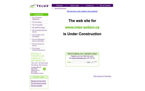 Screenshot of Home Page inter-action.ca - Future home of www.inter-action.ca - captured Oct. 6, 2014
