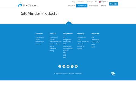 Screenshot of Products Page siteminder.com - Products - SiteMinder - captured Nov. 25, 2015