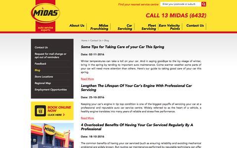 Screenshot of Blog midas.com.au - Midas - Car Service | Brake Service | Auto Service | Exhaust | Suspension - captured Nov. 28, 2016