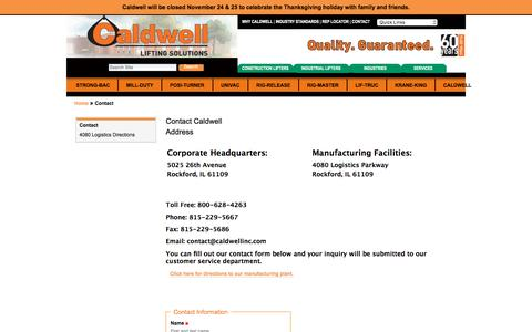 Screenshot of Contact Page caldwellinc.com - Contact Caldwell — Caldwell Group Lifting Solutions - captured Nov. 28, 2016