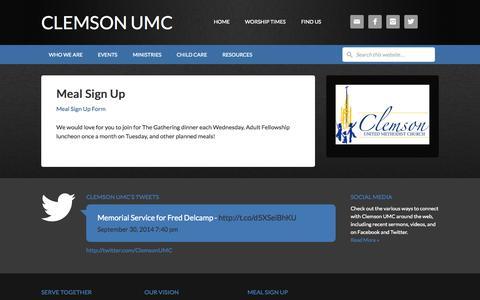 Screenshot of Signup Page clemsonumc.org - Meal Sign Up - Clemson UMC - captured Oct. 2, 2014
