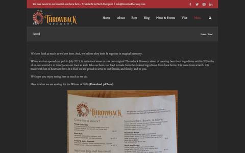 Screenshot of Menu Page throwbackbrewery.com - Food - Throwback Brewery - captured Feb. 16, 2016