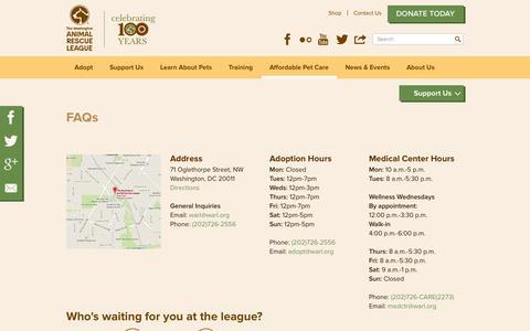 Screenshot of FAQ Page warl.org - FAQs | The Washington Animal Rescue League - captured Nov. 5, 2014