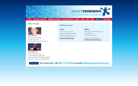 Screenshot of About Page enjoyswimming.org - About us | Enjoy Swimming - captured Sept. 30, 2014