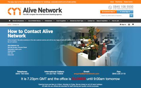 Screenshot of Contact Page alivenetwork.com - How To Contact Alive Network Entertainment Agency - captured Nov. 8, 2017