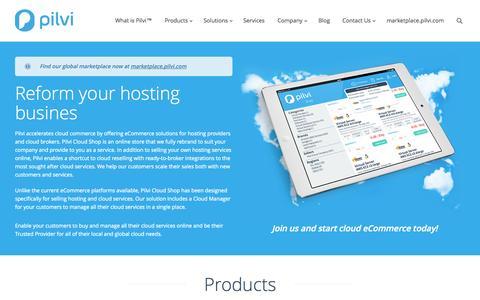 Screenshot of Home Page pilvi.com - Pilvi Cloud Company | Enabling Cloud Commerce - captured Oct. 2, 2014
