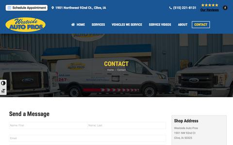 Screenshot of Contact Page westsideautopros.com - Contact Us - captured Oct. 29, 2019
