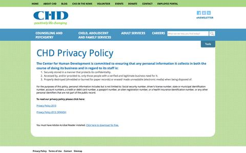Screenshot of Privacy Page chd.org - CHD Privacy Policy | CHD - captured Oct. 2, 2014