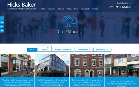 Screenshot of Case Studies Page hicksbaker.co.uk - Case Studies Archive - Hicks Baker - captured July 19, 2018