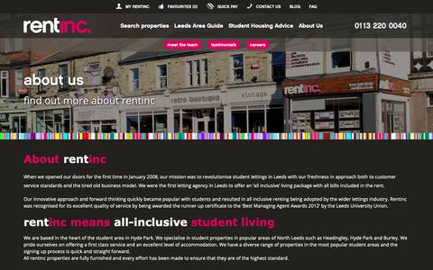 Screenshot of About Page rentinc.co.uk - About us | All Inclusive Student Accommodation | RentInc - captured Oct. 20, 2018
