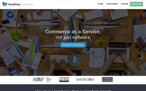 Screenshot of Home Page symphonycommerce.com - Web Store, Inventory Management, Fulfillment as a Service | Symphony Commerce - captured Sept. 20, 2015