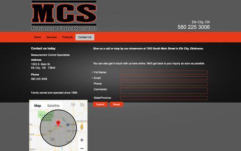 Screenshot of Contact Page mcsok.com - Contact Measurement Control Specialists - Elk City, OK | 580-225-3006 - captured Nov. 15, 2018