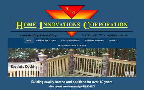 Screenshot of Home Page Menu Page hiconline.us - Home Improvements and Additions - captured Oct. 3, 2014