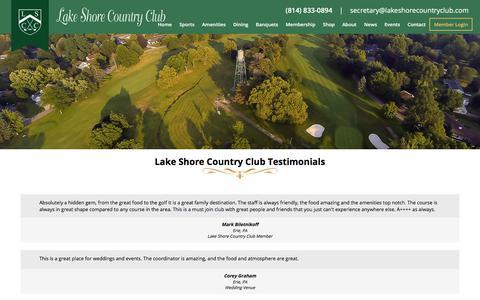Screenshot of Testimonials Page lakeshorecountryclub.com - LSCC Testimonials - Lake Shore Country Club - captured July 13, 2017