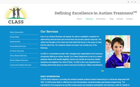 Screenshot of Services Page classaba.com - Services |  CLASS - captured Oct. 30, 2016