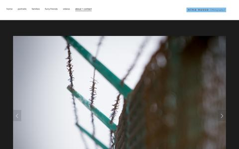 Screenshot of About Page ninarusso.com - about + contact — nina russo photography - captured Nov. 3, 2014