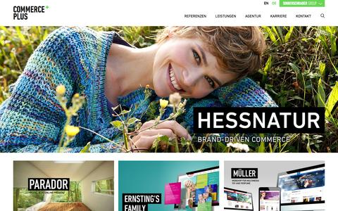 Screenshot of Home Page commerce-plus.com - Commerce Plus - E-Commerce Agentur - captured Sept. 19, 2014