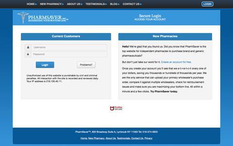 Screenshot of Login Page pharmsaver.net - Secure Login at PharmSaver - captured Sept. 25, 2018