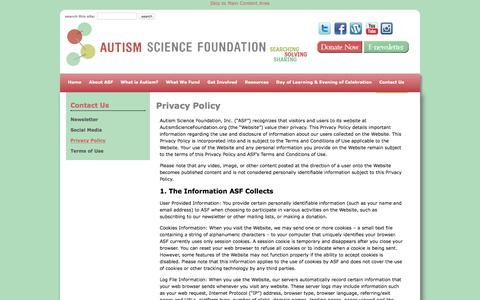 Screenshot of Privacy Page autismsciencefoundation.org - Privacy Policy - Autism Science Foundation - captured July 27, 2016