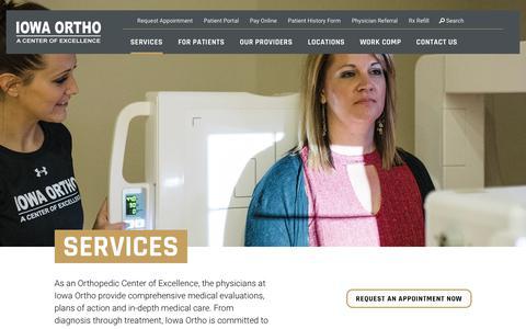 Screenshot of Services Page iowaortho.com - Iowa Orthopedics | Orthopedic Services | In-Depth Medical Care - captured Feb. 23, 2020