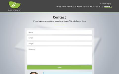 Screenshot of Contact Page diet-creator.com - Contact Diet Creator - captured Sept. 30, 2014