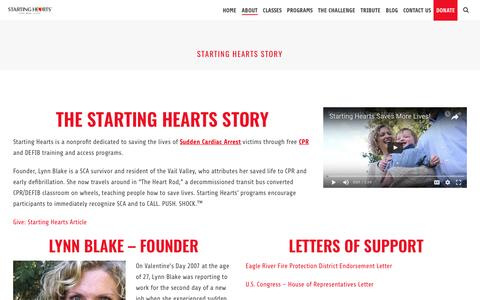 Screenshot of About Page startinghearts.org - About Our Organization and Our Founder Lynn Blake | Starting Hearts - captured May 10, 2017