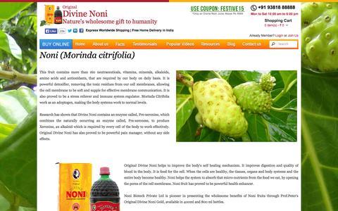 Screenshot of Products Page divinenoni.com - Noni Fruit - Morinda Citrifolia, Noni Plant, indian noni, noni enzyme - captured Oct. 5, 2014