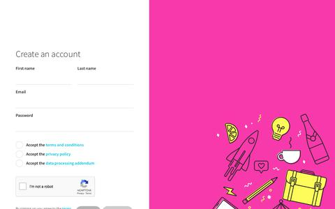 Screenshot of Signup Page confetti.events - Confetti | A beautiful site for your event - captured July 18, 2018