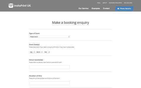 Screenshot of Contact Page instaprintuk.com - Hashtag Printer Hire London UK | Instagram & Twitter Printer | InstaPrint UK - captured June 7, 2017