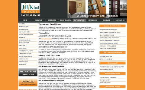 Screenshot of Terms Page jbkind.com - J B Kind Doors Website Terms and Conditions - captured Oct. 3, 2014