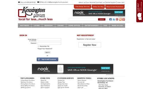 Screenshot of Login Page kensingtonfurniture.com - Sign In - captured Sept. 30, 2014
